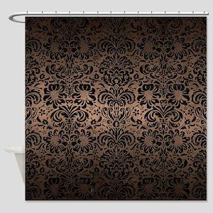 DAMASK2 BLACK MARBLE & BRONZE METAL Shower Curtain