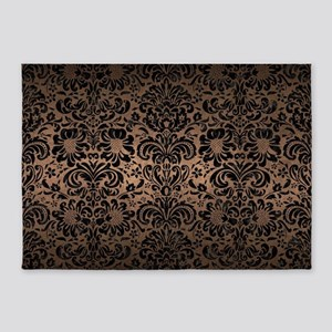 DAMASK2 BLACK MARBLE & BRONZE METAL 5'x7'Area Rug