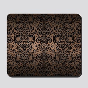 DAMASK2 BLACK MARBLE & BRONZE METAL (R) Mousepad