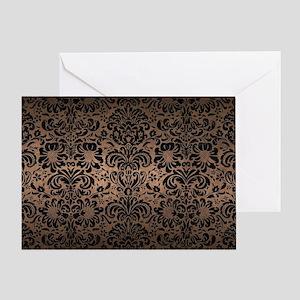 DAMASK2 BLACK MARBLE & BRONZE METAL Greeting Card