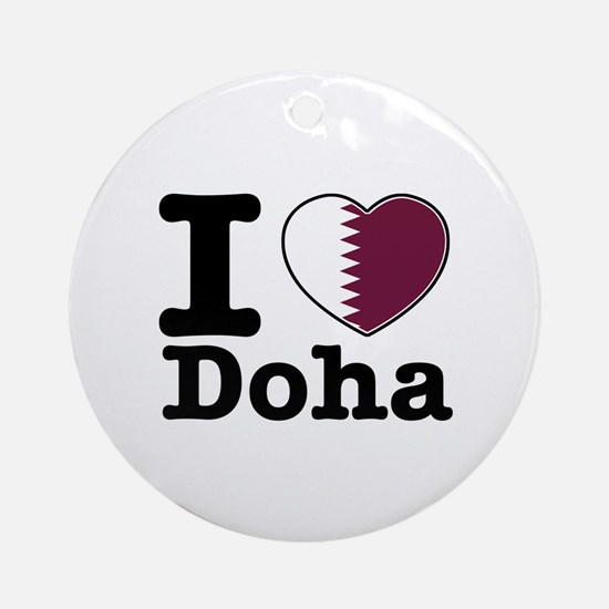 I love Doha Ornament (Round)