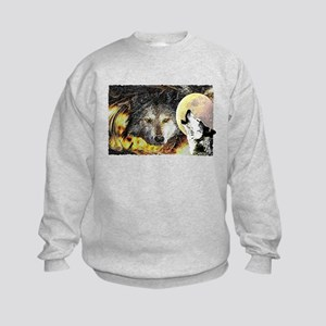 wolf howling Kids Sweatshirt
