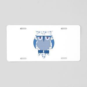 Blue Winter Snow Owl Aluminum License Plate