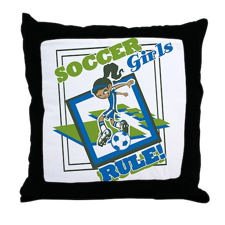 Soccer Girls Rules Throw Pillow