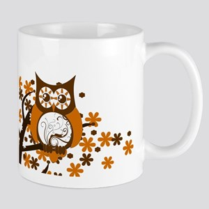 Brown Swirly Owl in Tree Mug