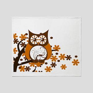 Brown Swirly Owl in Tree Throw Blanket