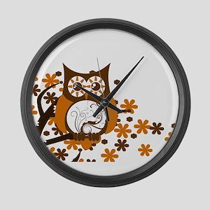 Brown Swirly Owl in Tree Large Wall Clock