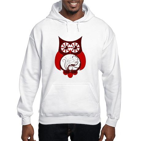 Red Swirly Owl Hooded Sweatshirt