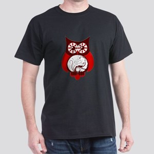 Red Swirly Owl Dark T-Shirt