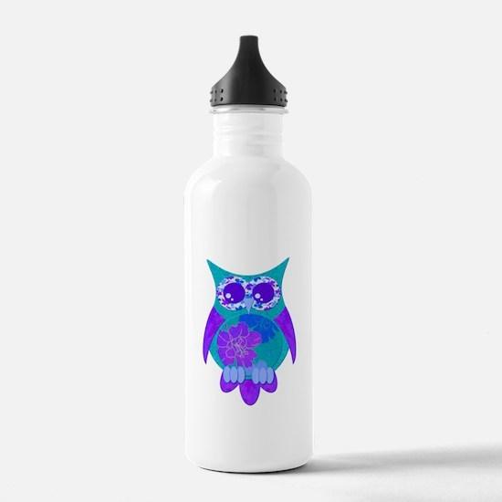 Aqua Hibiscus Owl Water Bottle