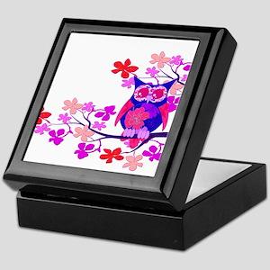 Pink Hibiscus Owl in Tree Keepsake Box
