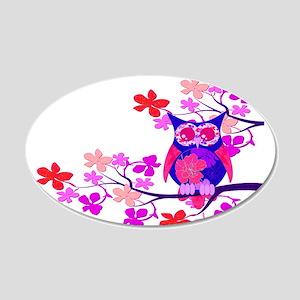 Pink Hibiscus Owl in Tree 22x14 Oval Wall Peel