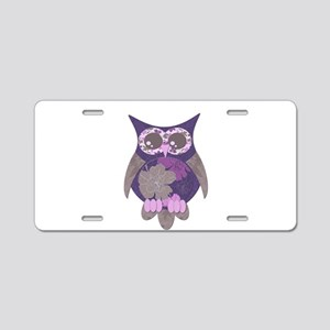 Purple Hibiscus Owl Aluminum License Plate