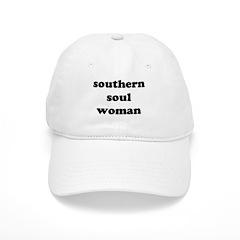 W05 White Baseball Cap: southern soul woman (large letters)