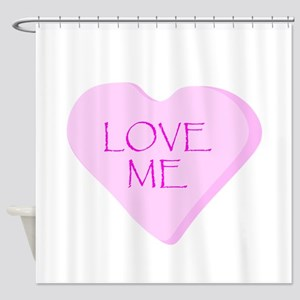 Love Me Candy Heart Shower Curtain