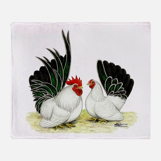 Japanese Black White Bantams Throw Blanket