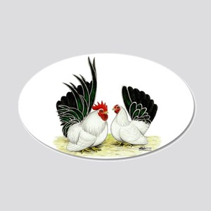 Japanese Black White Bantams 22x14 Oval Wall Peel