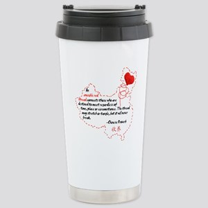 Red Thread on Light Stainless Steel Travel Mug