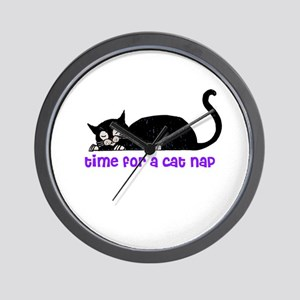 Time for a Cat Nap - Kitty Wall Clock