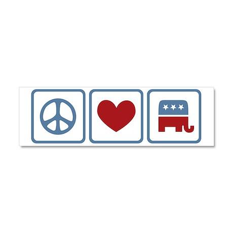 Peace Love Republicans Car Magnet 10 x 3