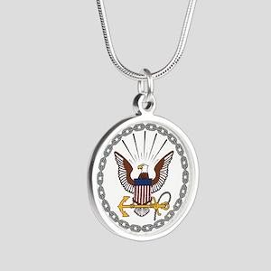 United States Navy Emblem Silver Round Necklace