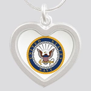 United States Navy Emblem Silver Heart Necklace