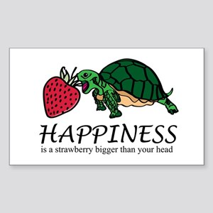Happiness is (Strawberry) Sticker (Rectangle)