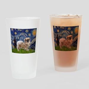 Starry / Tibetan Spaniel Drinking Glass