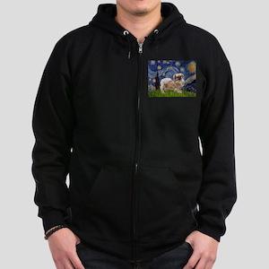 Starry / Tibetan Spaniel Zip Hoodie (dark)