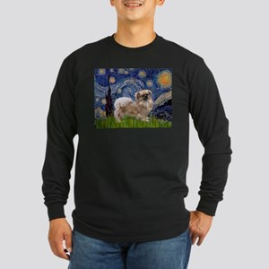 Starry / Tibetan Spaniel Long Sleeve Dark T-Shirt