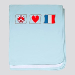 Peace, Love and France baby blanket