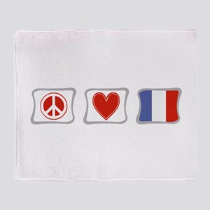 Peace, Love and France Throw Blanket