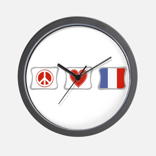 Peace, Love and France Wall Clock