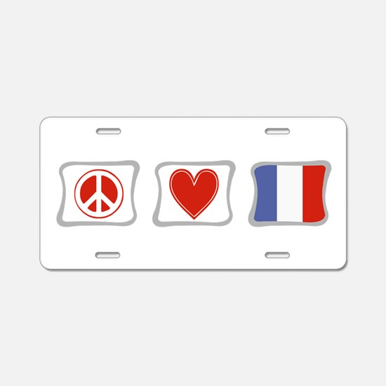 Peace, Love and France Aluminum License Plate