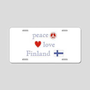 Peace, Love and Finland Aluminum License Plate