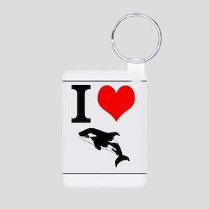 I love Whales, Aluminum Photo Keychain