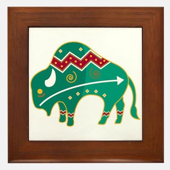 Indian Spirit Buffalo Framed Tile