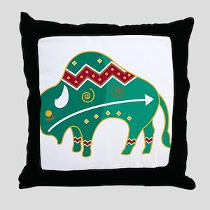Indian Spirit Buffalo Throw Pillow