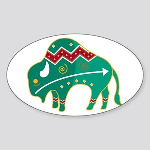 Indian Spirit Buffalo Oval Sticker