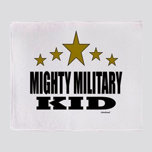 Mighty Military Kid Throw Blanket