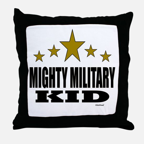 Mighty Military Kid Throw Pillow