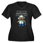 AMEAME FUREFURE Women's Plus Size V-Neck Dark T-Sh