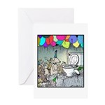 Dog party Toilet water Punch Greeting Card