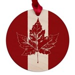 Cool Canada Flag Maple Round Ornament