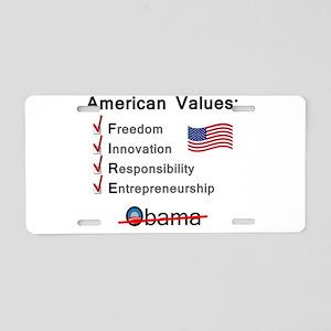 American Values: Fire Obama Aluminum License Plate