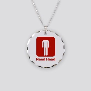 Need Head Necklace Circle Charm