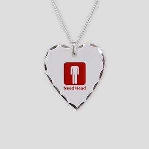 Need Head Necklace Heart Charm