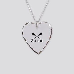 crew with oars (black) Necklace Heart Charm