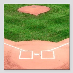 """Baseball Diamond Square Car Magnet 3"""" x 3"""""""