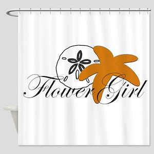 Sand Dollar Starfish Flower Girl Shower Curtai